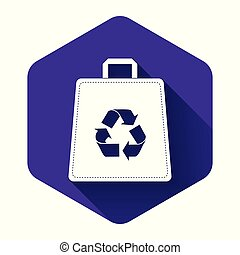 White Paper shopping bag with recycle icon isolated with long shadow. Bag with recycling symbol. Purple hexagon button. Vector Illustration