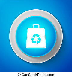 White Paper shopping bag with recycle symbol icon isolated on blue background. Circle blue button with white line. Vector Illustration