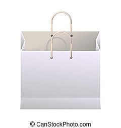 White paper shopping bag with thin handles illustration