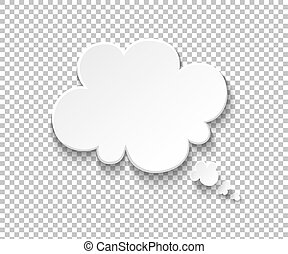 White paper speech bubble. Blank thought balloons, think cloud. Vector speech and thinking comic message