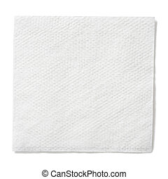 white paper square napkin isolated with clipping path...