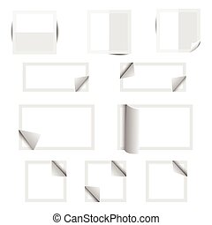 White paper square stickers with shadows
