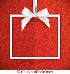White paper squared frame hanging on silky ribbon with bow, Valentines day background