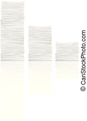white paper stack reflection set