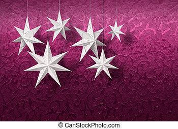 White paper stars on purple brocade