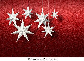White paper stars on red brocade