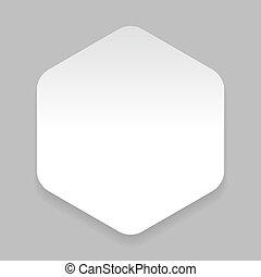 White paper sticker hexagon vector