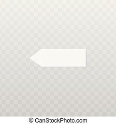 White paper sticker isolated on transparent background.