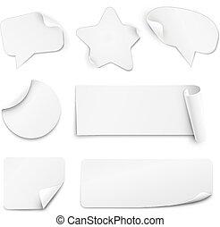 White paper stickers - Realistic white paper stickers in...