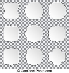 White paper stickers frames with shadow on a transparent background