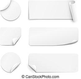 White paper stickers on white background - Set of white...