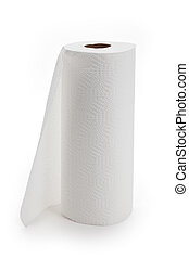 White paper towel roll with white background