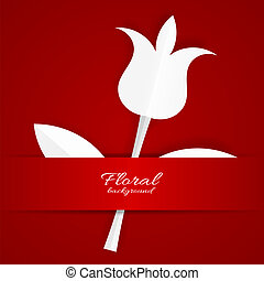 White paper Tulip on red background