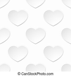 White Paper Valentines Heart Seamless Background