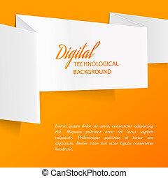 White paper. - White paper over orange background. Vector...