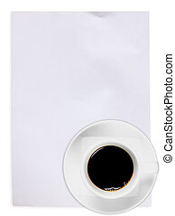 White paper with coffee