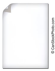 White paper with corner curl on white background