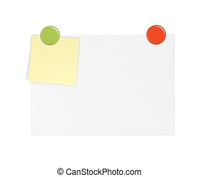 White paper with notes and magnet - White paper with yellow...