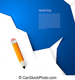 White Paper With Pencil on Blue Background, Simple Infographics