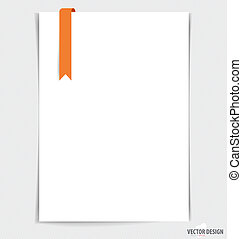 White paper with ribbon, ready for your message. Vector...