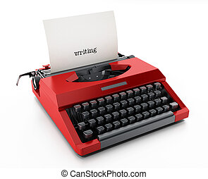 White paper with writing word in red vintage typewriter. 3D illustration