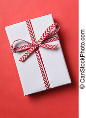 White paper wrapped Christmas present