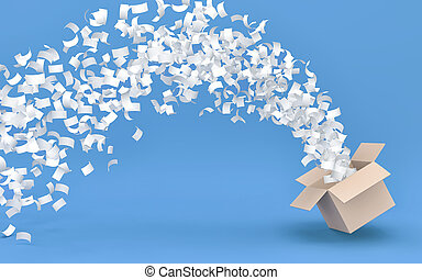 White paperflies out of a cardboard box on blue background