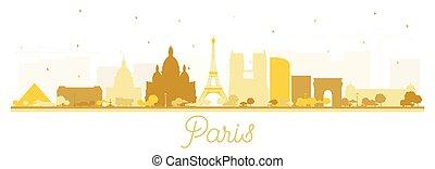 white., parís, perfil de ciudad, edificios, aislado, silueta...