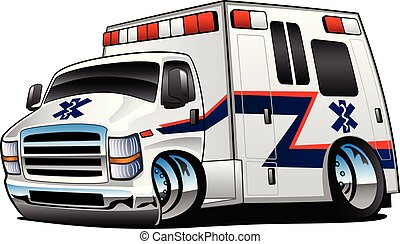 White Paramedic Ambulance Rescue Truck Cartoon Isolated Vector Illustration