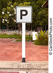 White Parking sign
