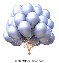 white party balloons bunch classic clean glossy