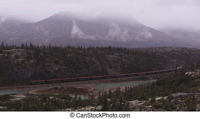 White Pass and Yukon Route Railroad train ride and tourist attraction for cruise ship passengers and tourists on White Pass Summit excursion from Skagway, Alaska, USA to Whitehorse, Yukon, BC, Canada.