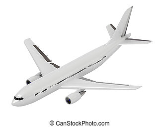 White passenger airliner. Top view isolated on white