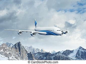 White passenger plane above the mountains