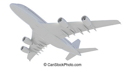 White passenger plane. Bottom view. Isolated render on a...