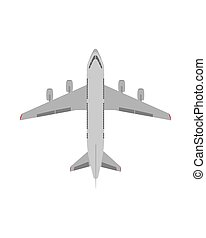 White passenger plane. View from above. Flat design. Vector.