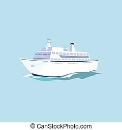 White Passenger Ship on the Water. Vector Illustration