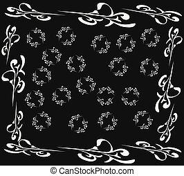 White pattern on black background