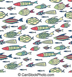 White pattern with shoal of fishes - Seamless pattern with...