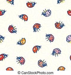 White pattern with swirl and ladybug.