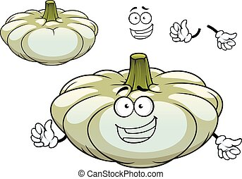 White pattypan squash vegetable cartoon character