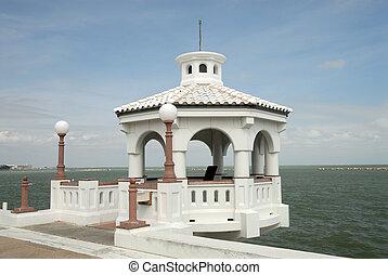 White pavilion on the promenade of Corpus Christi, TX USA