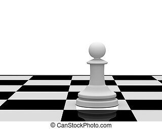 White pawn on chessboard