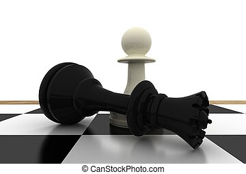 White pawn standing over fallen black queen on white...