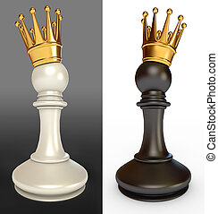 White pawn with a golden crown, black pawn with a golden...