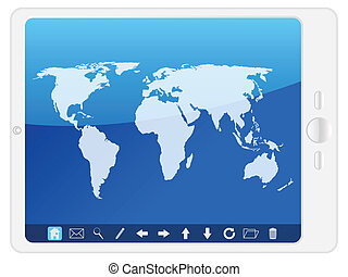 white Pc tablet with world map