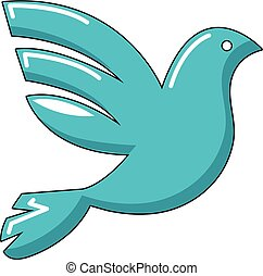 White peace pigeon icon, cartoon style