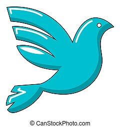 White peace pigeon icon, cartoon style