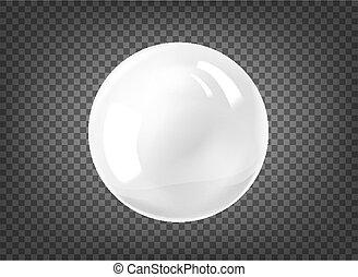White pearl. Gem sphere on black background. Abstract banner with pearl ball.