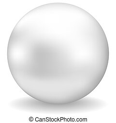 pearl - white pearl with shadow on white background